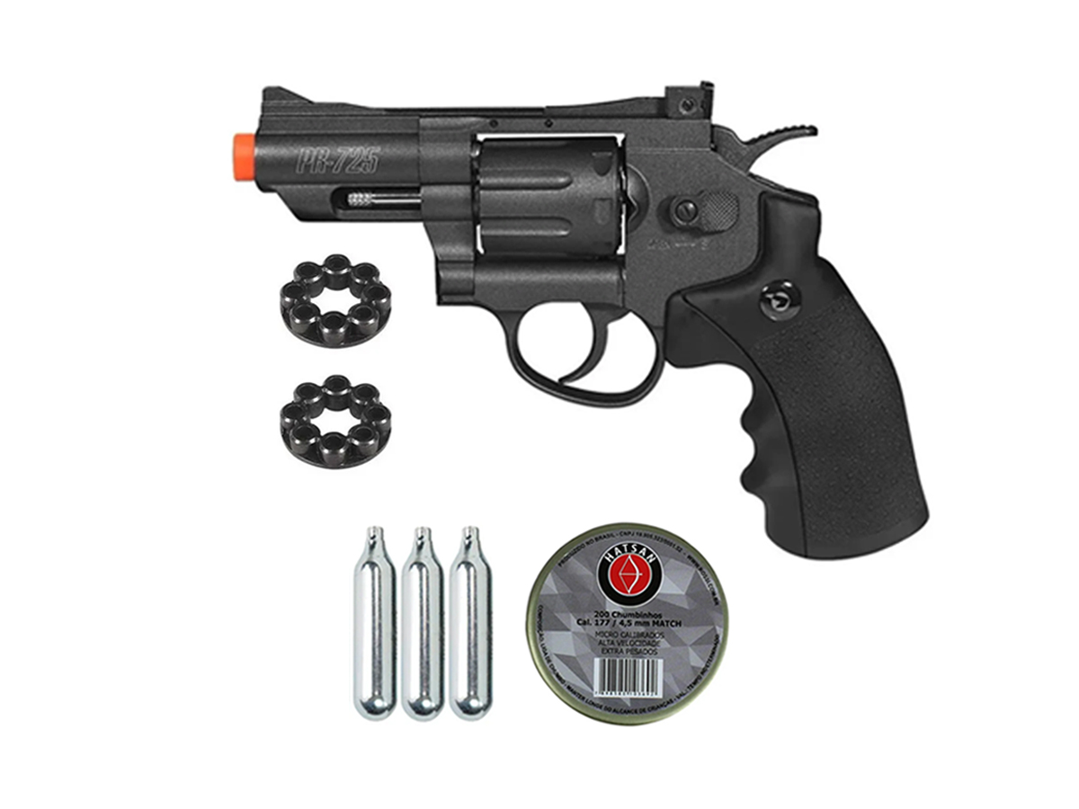 Revolver Pressão Co2 Chumbinho Gamo Full Metal 4.5mm Kit 2
