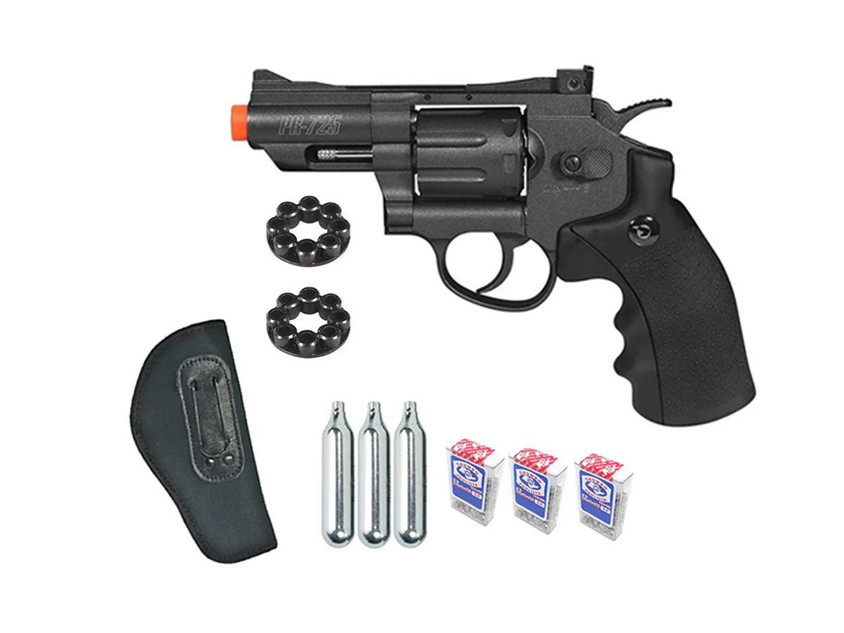 Revolver Pressão Co2 Chumbinho Gamo Full Metal 4.5mm Kit 3