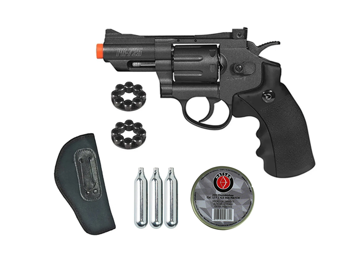 Revolver Pressão Co2 Chumbinho Gamo Full Metal 4.5mm Kit 5