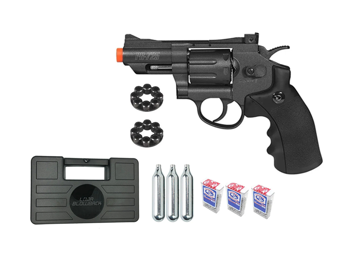 Revolver Pressão Co2 Chumbinho Gamo Full Metal 4.5mm Kit 8