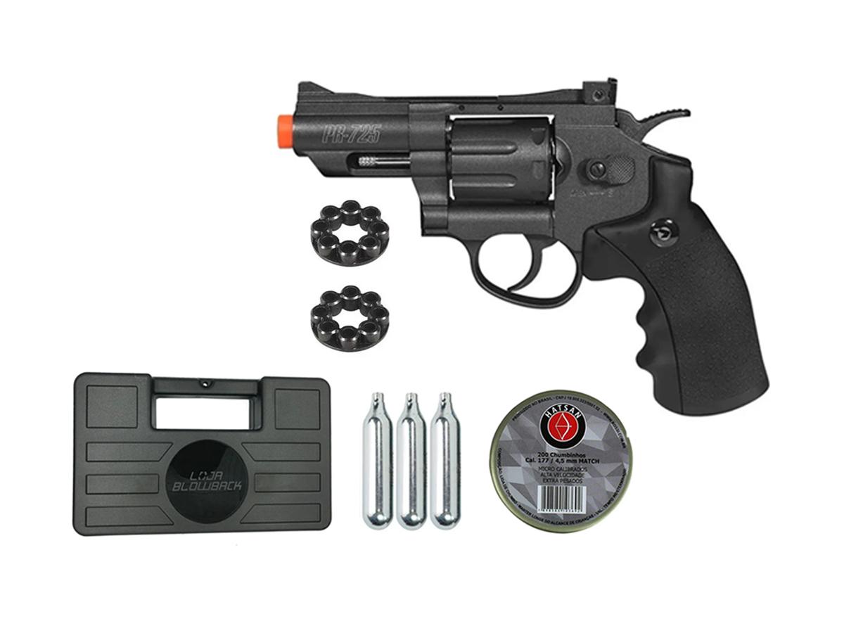 Revolver Pressão Co2 Chumbinho Gamo Full Metal 4.5mm Kit 9