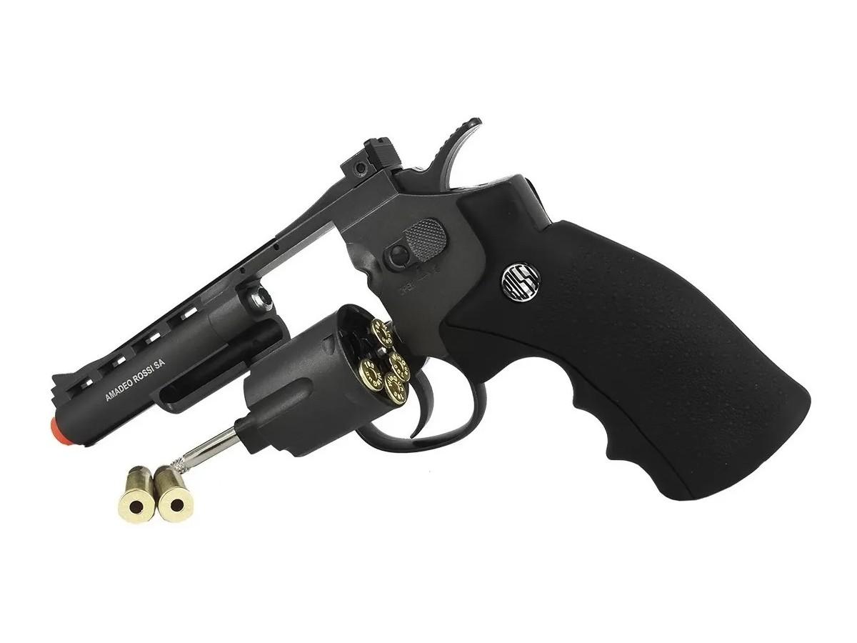 Revolver de Pressão Rossi 701 Co2 Full Metal 4 Pol 4.5mm + 5 Cilindros de Co2 + 1 Pack com 500 Esferas de Aço 4,5mm loja Blowback + Maleta loja Blowback + Coldre velado
