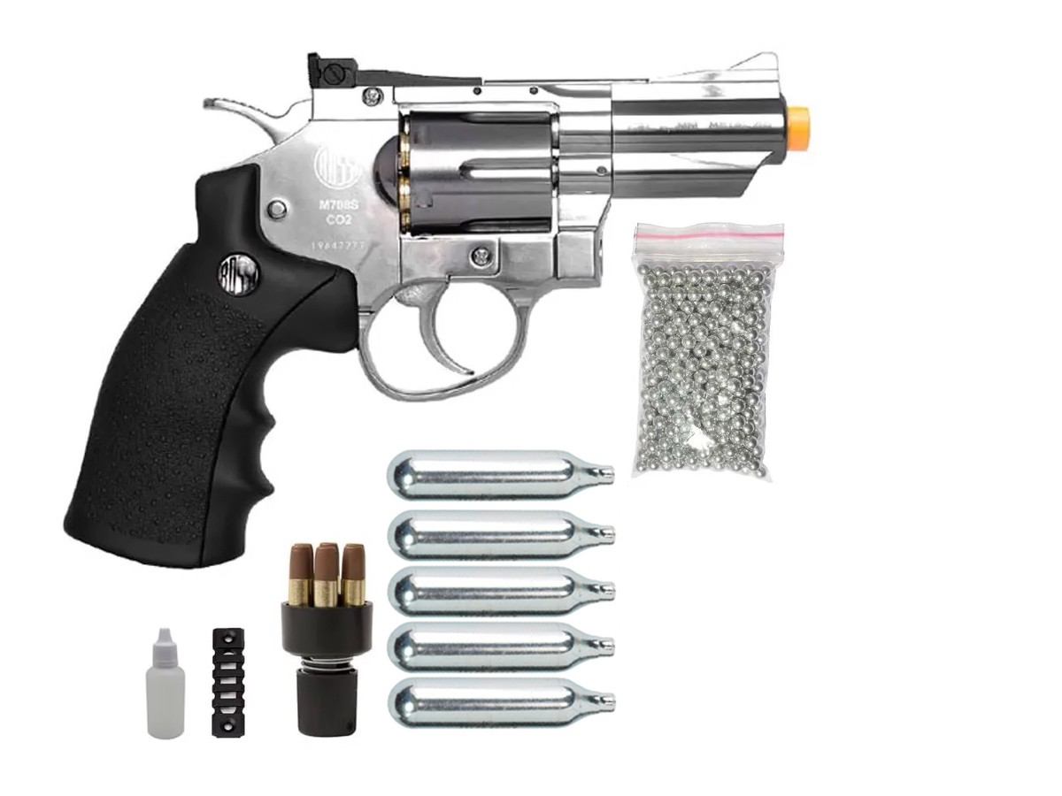 Revolver Pressão Rossi 708 Full Metal Co2 Cromado Airgun 4,5 K1