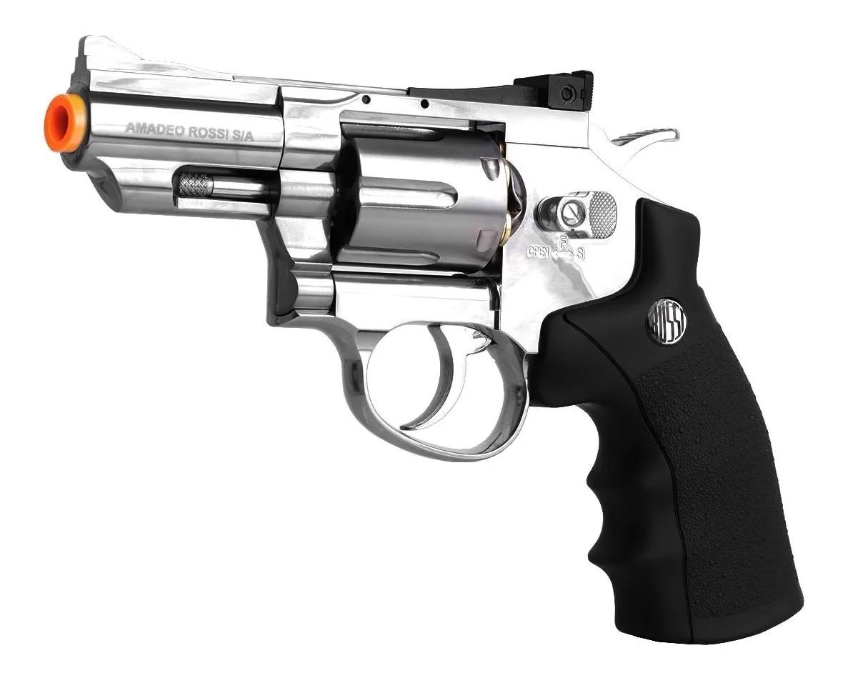 Revolver Pressão Rossi 708 Full Metal Co2 Cromado Airgun 4,5 K1