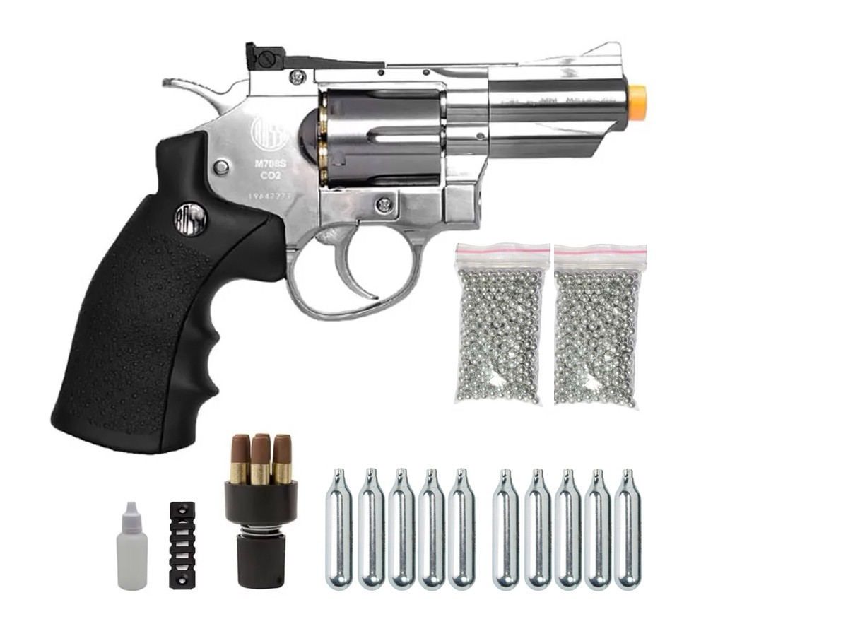 Revolver Pressão Rossi 708 Full Metal Co2 Cromado Airgun 4,5 K2