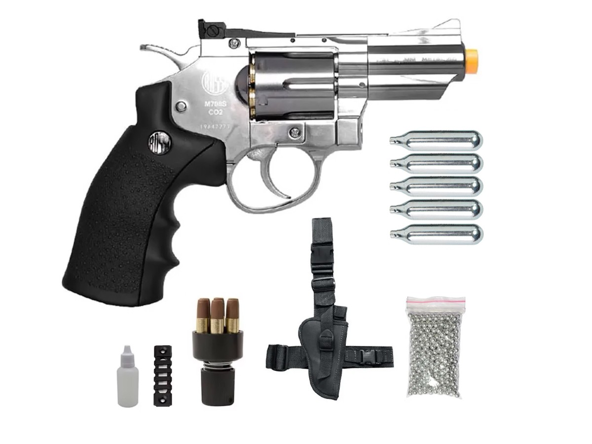 Revolver Pressão Rossi 708 Full Metal Co2 Cromado Airgun 4,5 K4