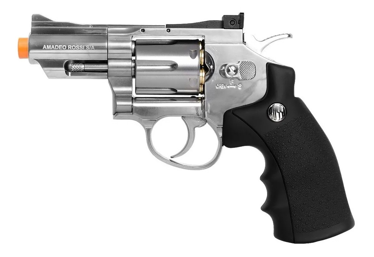 Revolver Pressão Rossi 708 Full Metal Co2 Cromado Airgun 4,5 K4