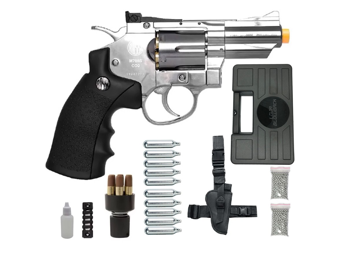 Revolver Pressão Rossi 708 Full Metal Co2 Cromado Airgun 4,5 K5