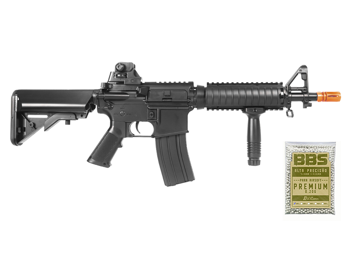 Rifle Airsoft Cyma M4 Ris CQB Rajada Aeg Elétrica 6mm Kit 4