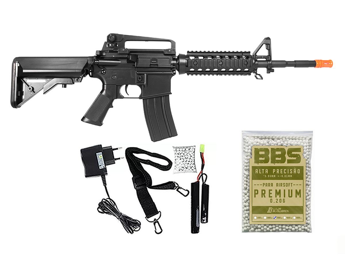 Rifle Airsoft Cyma M4A1 Ris Cm507 Rajada Aeg Eletrica 6mm H9