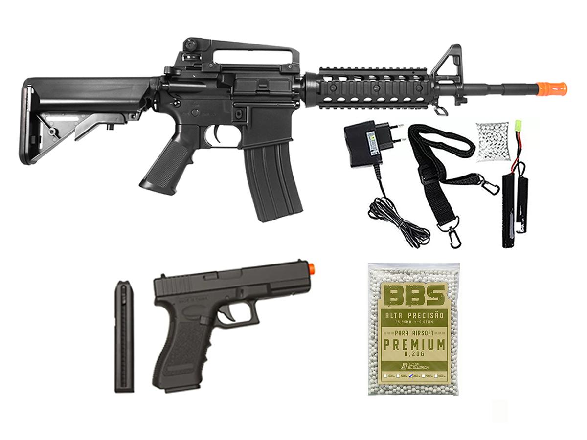 Rifle Airsoft Cyma M4A1 Ris Rajada Aeg Eletrica 6mm + Kit 1