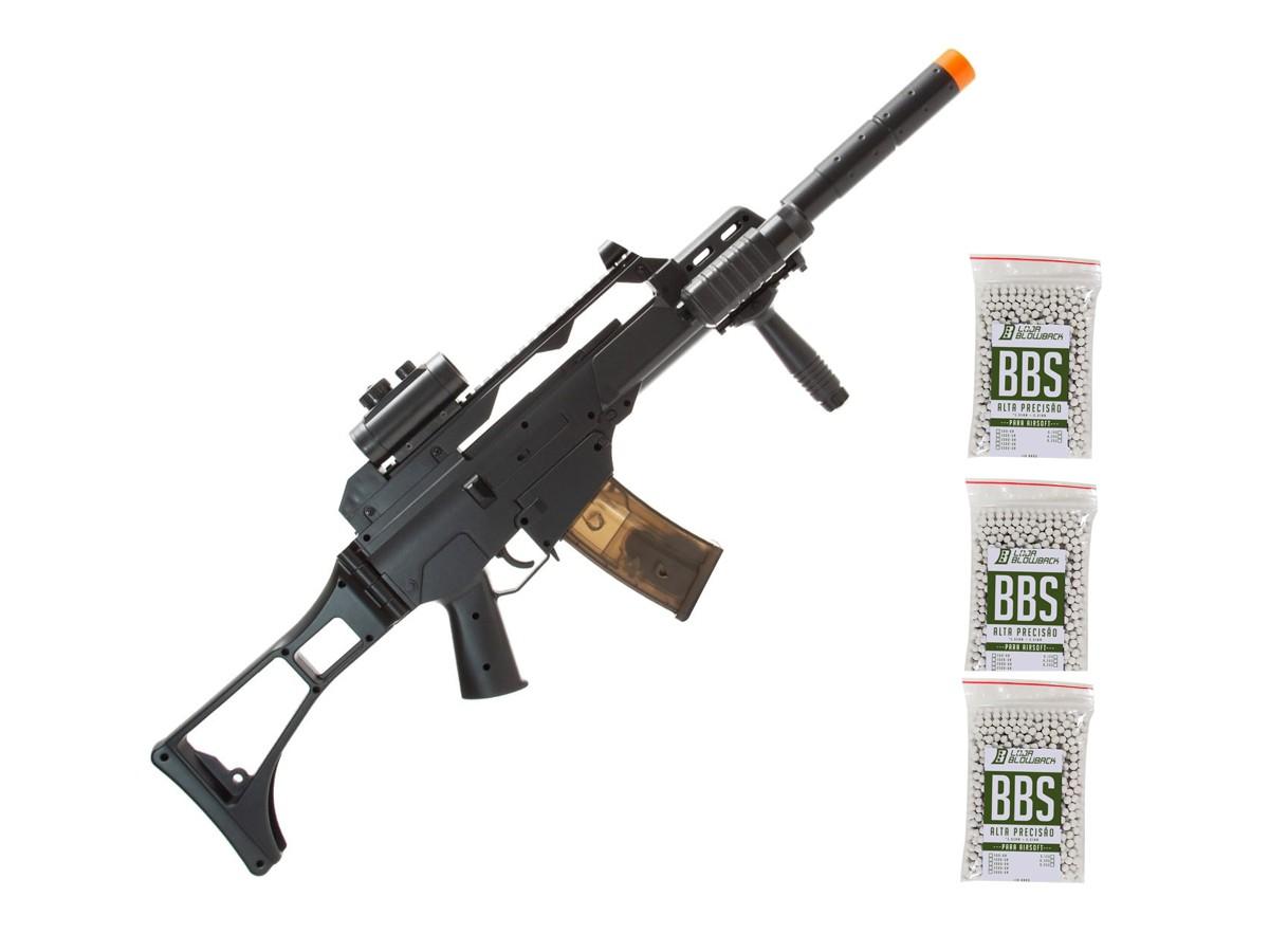 Rifle Airsoft Hk G36 Elétrico Bivolt 6mm Rajada + 3000 Bbs
