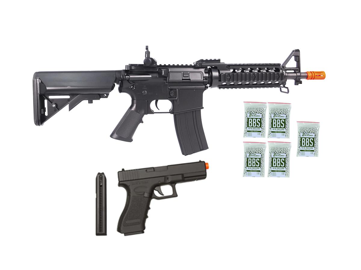 Rifle Airsoft M4 Cyma CQB Rajada Aeg Elétrica 6mm Glock Kit1