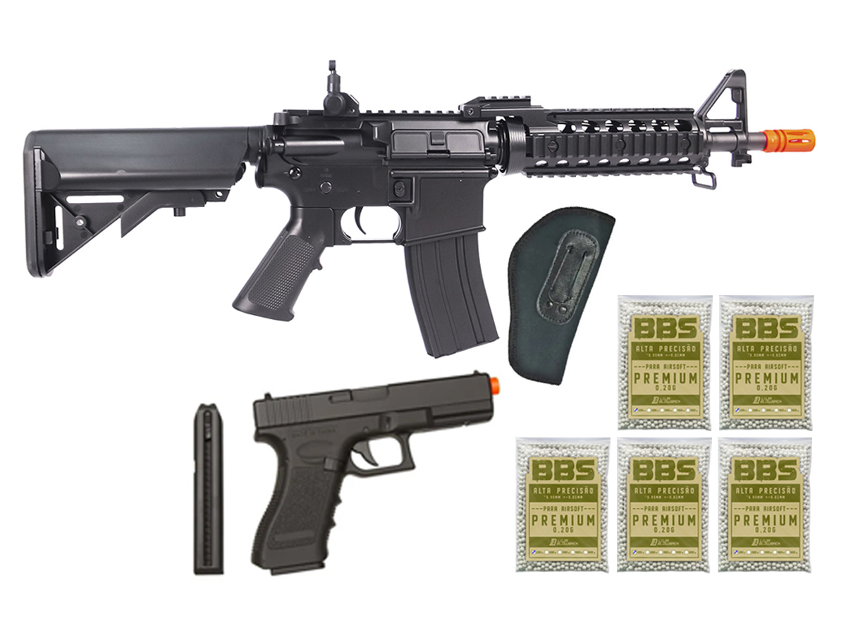 Rifle Airsoft M4 Cyma CQB Rajada Aeg Elétrica 6mm Glock Kit5