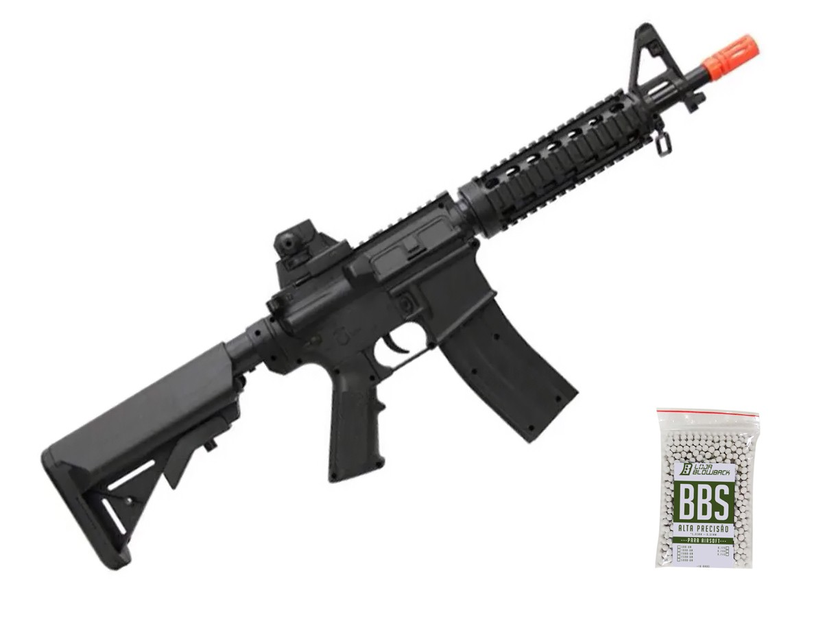 Rifle Airsoft M4a1 Ris Vigor Fuzil Spring 6mm + 1000 Bbs