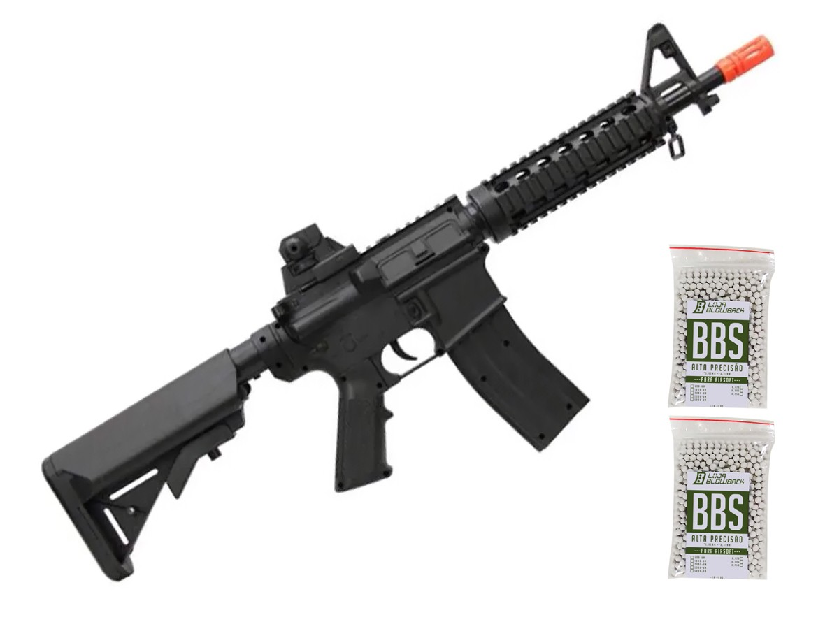Rifle Airsoft M4a1 Ris Vigor Fuzil Spring 6mm + 2000 Bbs
