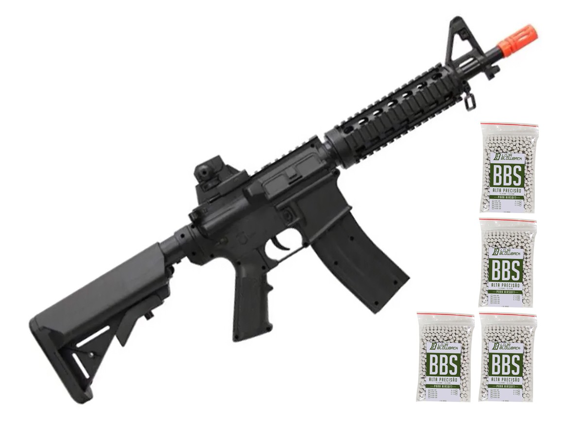 Rifle Airsoft M4a1 Ris Vigor Fuzil Spring 6mm + 4000 Bbs