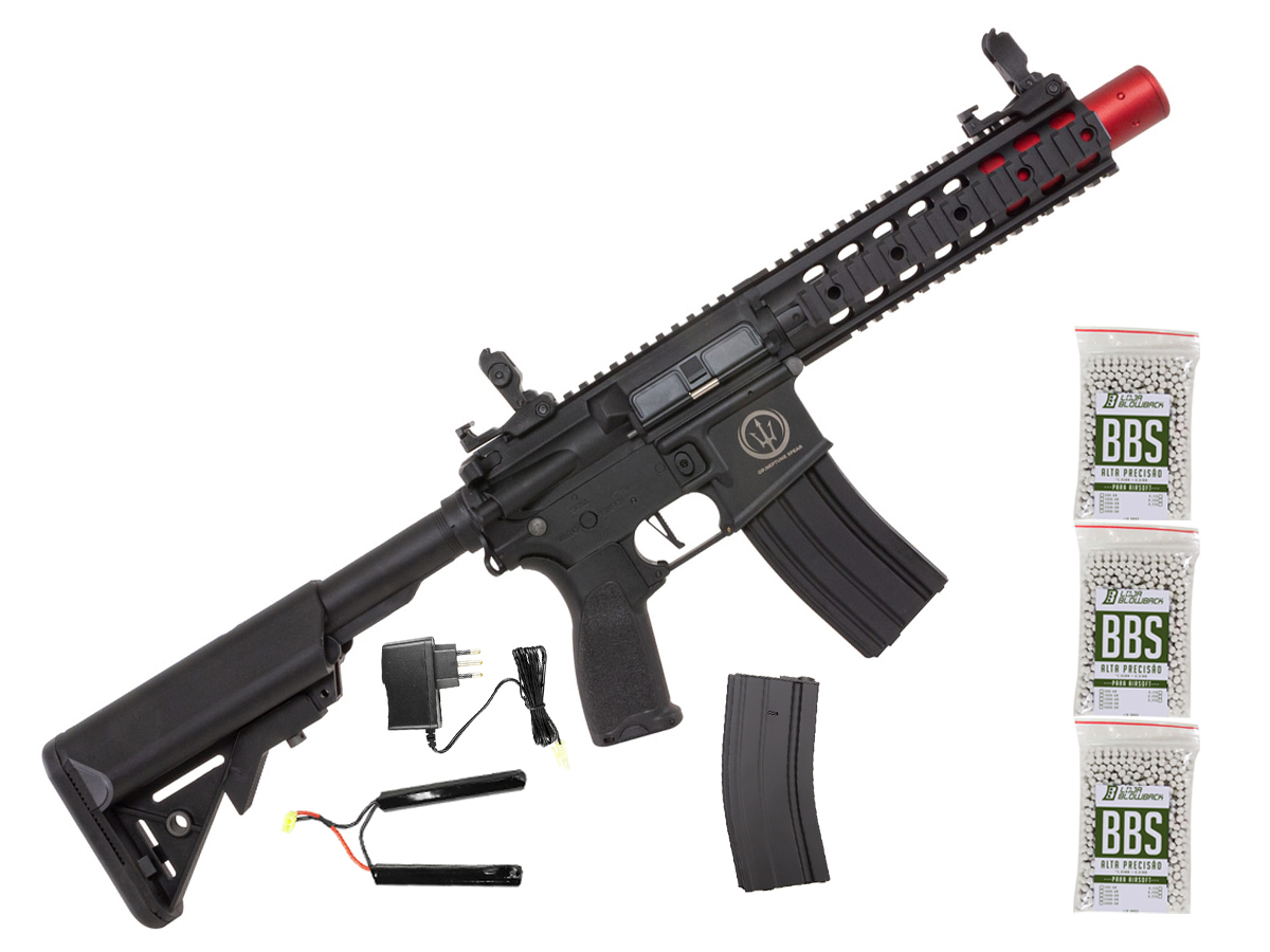 Rifle de Airsoft AEG M4 AR15 Neptune 8p SD + 3000 Bbs 0,12g loja Blowback