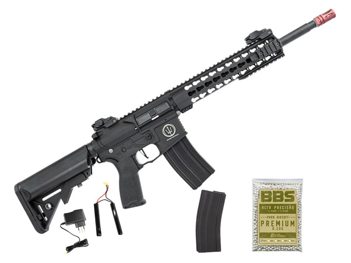 Rifle de Airsoft AEG M4 AR15 Neptune Keymod 10 + 1000 Bbs 0,20g loja Blowback