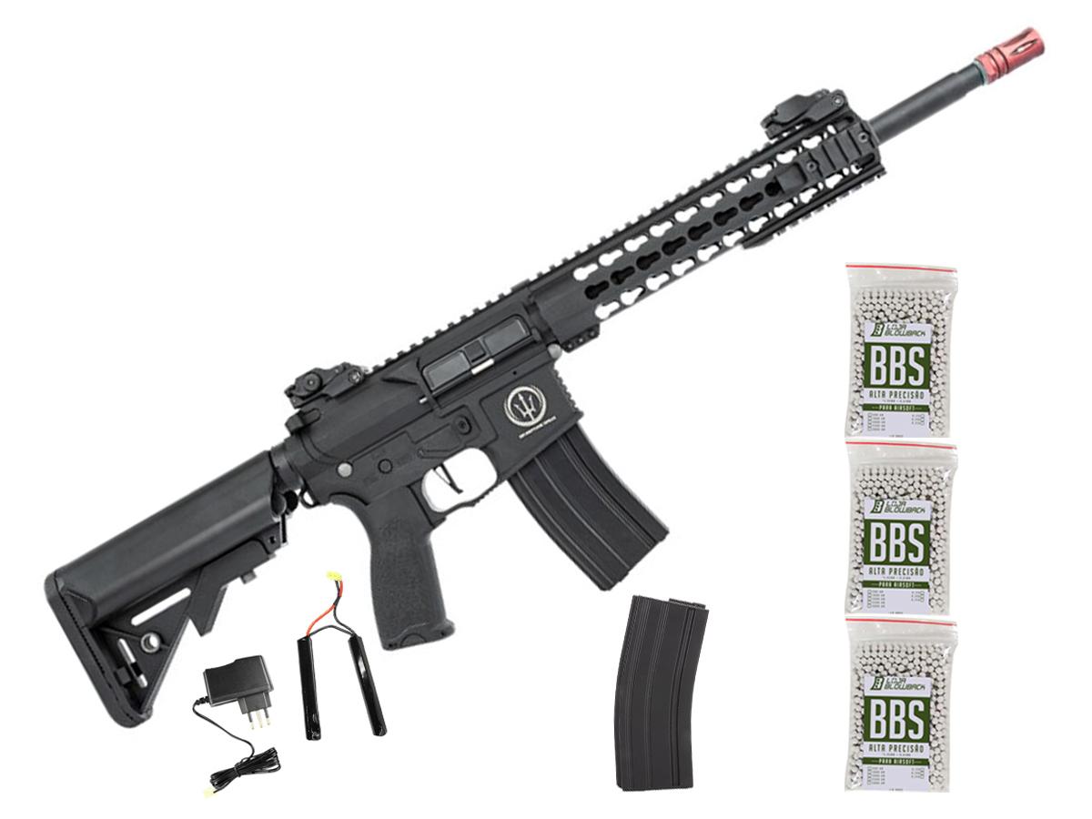 Rifle de Airsoft AEG M4 AR15 Neptune Keymod 10 + 3000 Bbs 0,12g loja Blowback