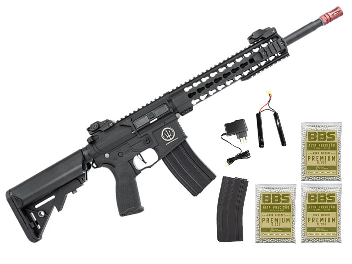 Rifle de Airsoft AEG M4 AR15 Neptune Keymod 10 + 3000 Bbs 0,20g loja Blowback