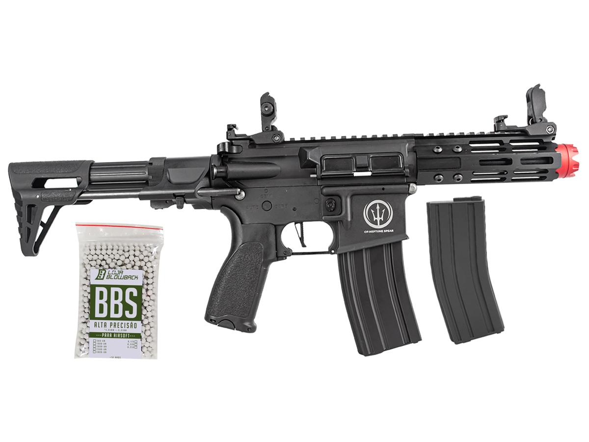 Rifle de Airsoft AEG M4 AR15 Neptune PDW + 1000 Bbs 0,12g loja Blowback