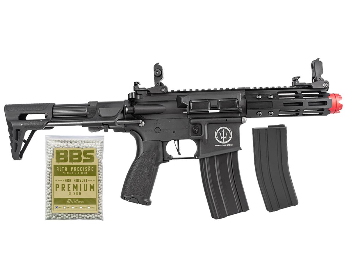 Rifle de Airsoft AEG M4 AR15 Neptune PDW + 1000 Bbs 0,20g loja Blowback
