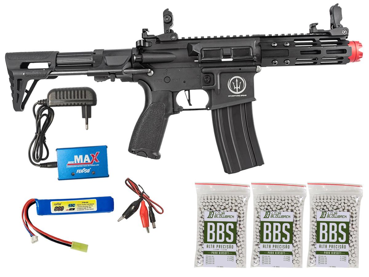 Rifle de Airsoft AEG M4 AR15 Neptune PDW +  3000 Bbs 0,12g loja Blowback