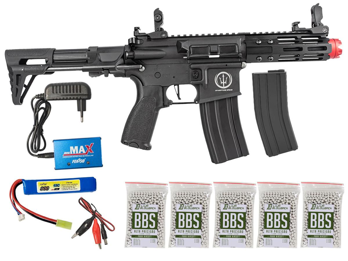 Rifle de Airsoft AEG M4 AR15 Neptune PDW +  5000 Bbs 0,12g loja Blowback