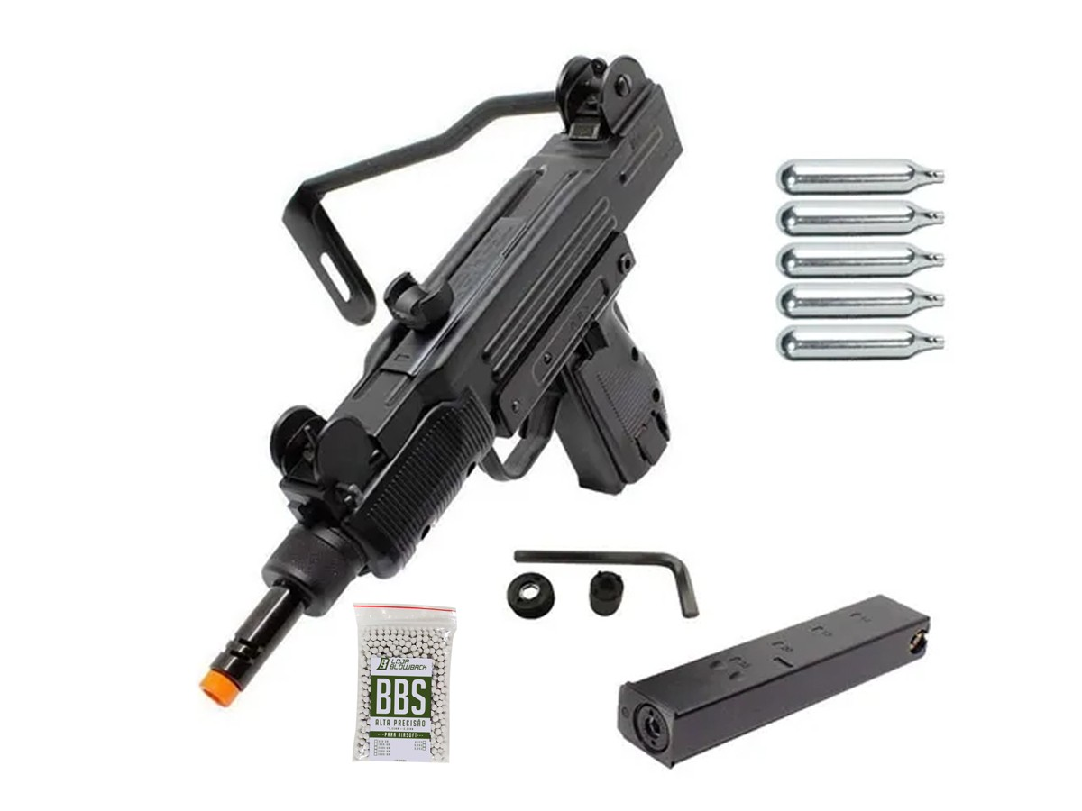 Sub Metralhadora Metal Airsoft Uzi Co2 Gbb Blowback 6mm + 5 Co2 +1000 Bbs
