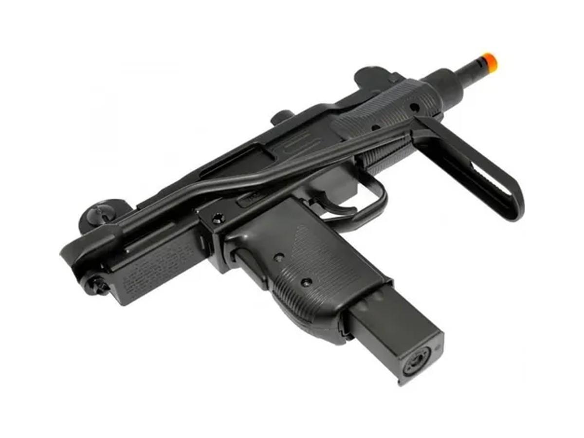 Sub Metralhadora Metal Airsoft Uzi Co2 Gbb Blowback 6mm + 5 Co2 +1000 Bbs