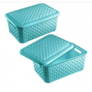 Caixa Plástica Organizadora Rattan- Kit Com 3 Tamanhos