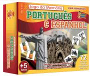 Jogo da Memória Português e Espanhol 72 Peças em Madeira