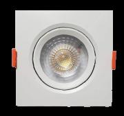 KIT C/ 10 Unidades - Spot LED  5w - Quadrado De Embutir Direcionável / Branco Frio