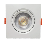 KIT C/ 10 Unidades - Spot LED  5w - Quadrado De Embutir Direcionável / Branco Quente