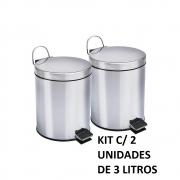Kit C/ 2 Cestas De Lixo Banheiro Lixeira Metal Inox 3L Com Pedal Luxo