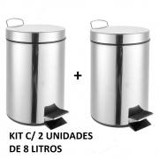 Kit C/ 2 Cestas De Lixo Banheiro Lixeira Metal Inox 8L Com Pedal Luxo