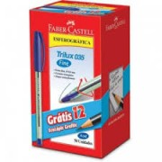 Kit c/50 Canetas Trilux Fina Azul + 12 lápis Grátis