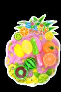 KIT com 3 Frutas para Cortar, Faca e Tábua