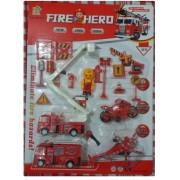 KIT Corpo de Bombeiro Fire Hero 16 peças (Carros e Placas)