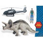 KIT Dinossouro Adventure Triceratops Helicóptero e Boneco - Hefer