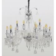 Lustre De Cristal Legítimo K9 15 Braços Transparente 1186-10+5T