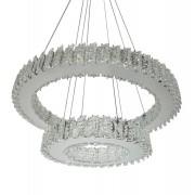 Lustre De Cristal Legítimo K9 2 AROS Transparente / Moderno e Luxuoso