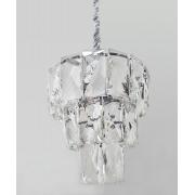 Lustre De Cristal Legítimo K9 Transparente Com As Partes Metálica Prata
