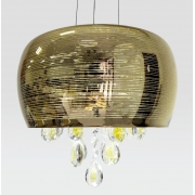 Lustre Pendente Bacia De Cristal Dourado 28 cm de Diâmetro C/ Lâmpadas