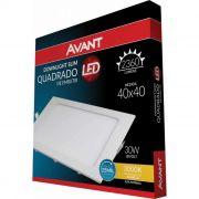 Painel LED de Embutir Quadrado 40 x 40 cm 30- Luz Amarela 3000K