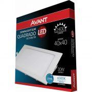 Painel LED de Embutir Quadrado 40 x 40 cm 30- Luz Branca 6500K