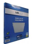 Painel Led embutir quadrado 36w 3000k branco quente- MB LED