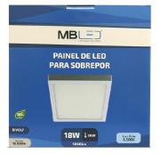 Painel Led sobrepor 18w 6500k branco frio- MB LED