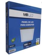 Painel Led Sobrepor Quadrado 18w 3000k branco quente- MB LED